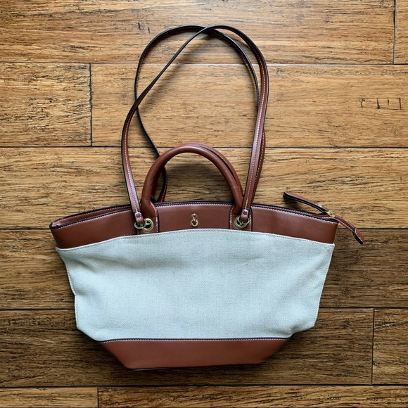 London Fog Handbags - Brown and Off White Mixed Material Tote Bag